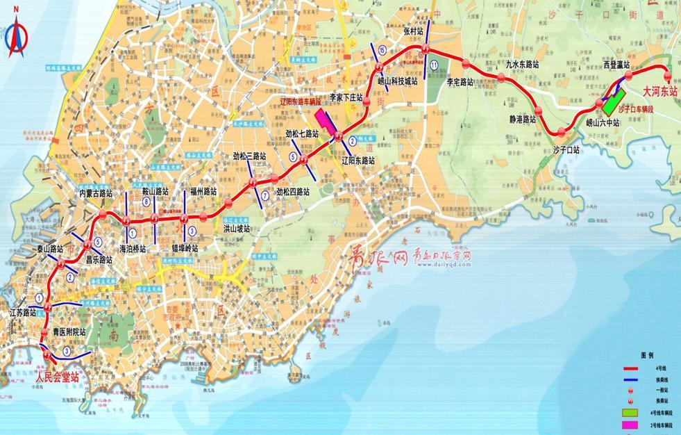 资料图.青岛地铁4号线路线图.